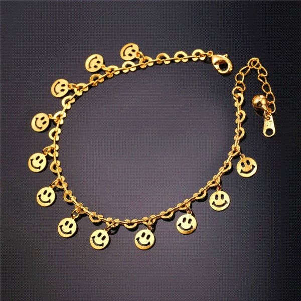 U7 Foot Jewelry Barefoot Sandals Women 2016 Summer Gold Plated Ankle And Foot Bracelet Smiling Face Anklet A306