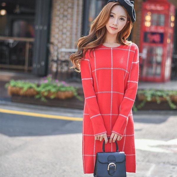 Dabuwawa Women'S Going Out Casual Plaid Loose Shift Sweater Dress ...