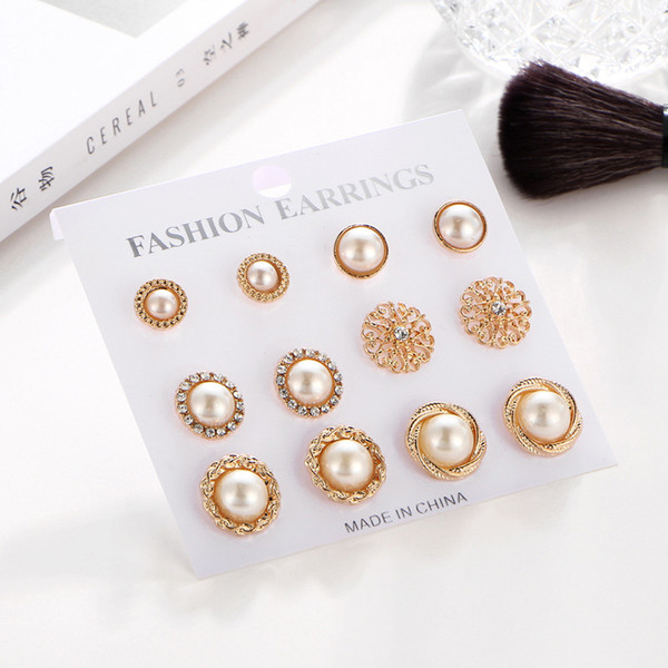 06310d035fd 2019 Gold Color Flower Hollow Stud Earring Vintage Crystal Simulated Pearl  Earrings Set For Women Wedding Jewelry From Dhfashionshow, $3.1 | ...