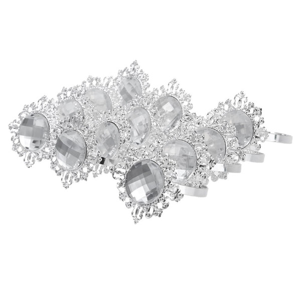 12pcs Acrylic Silver-plated Diamond Napkin Rings for Wedding Receptions Gifts For Holiday Dinner Business Entertaining