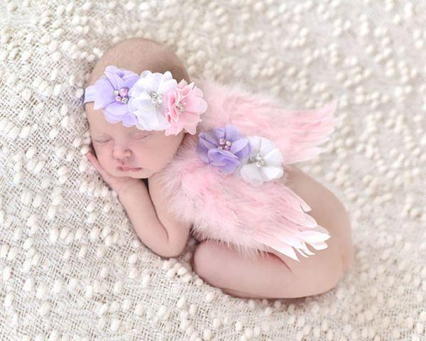 Baby Baby Angel piuma ala Chiffon fiore fascia ragazze Fotografia Puntelli Set neonato Piuttosto fata Rosa piuma Accessori per capelli SEN201