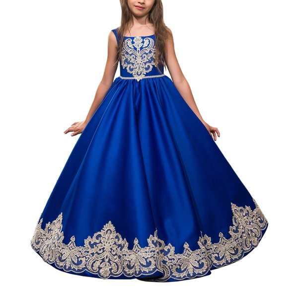 Customised Royal Blue Party Dresses For Girls 10 12 Kids Prom Dresses  Evening Gowns Blue Graduation Gowns Children Chiffon Flower Girl Dresses  Dresses
