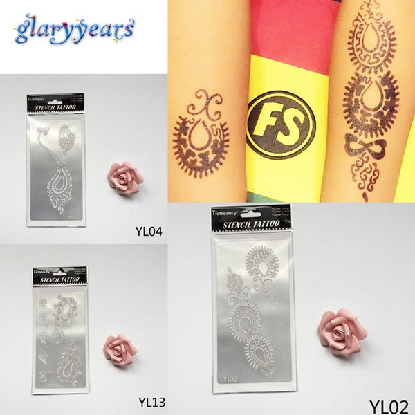 Wholesale-1 Sheet Fashion 13 Different Flowers Pattern Designs Hollow Henna Indian Tattoo Stencil Women Men Body Art Paint Tattoo Template