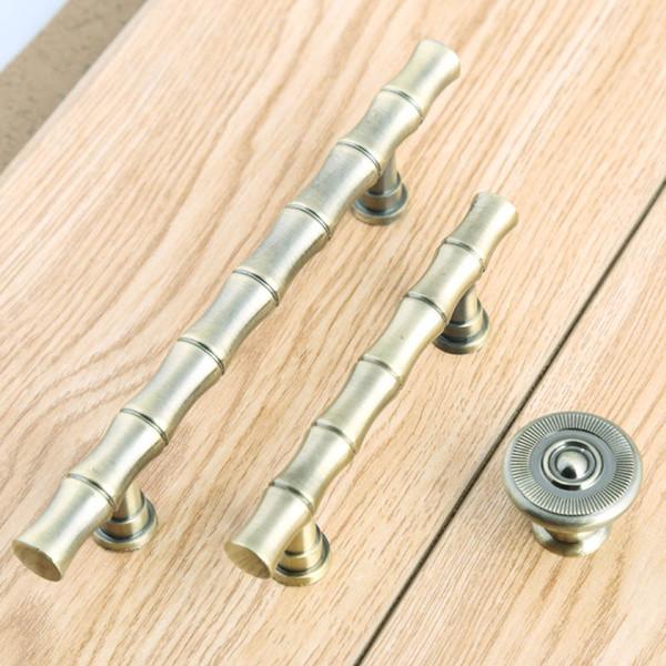 Maniglie per mobili in bambù stile retrò 64mm 96mm maniglie per porte d'epoca in ottone anticato da cucina