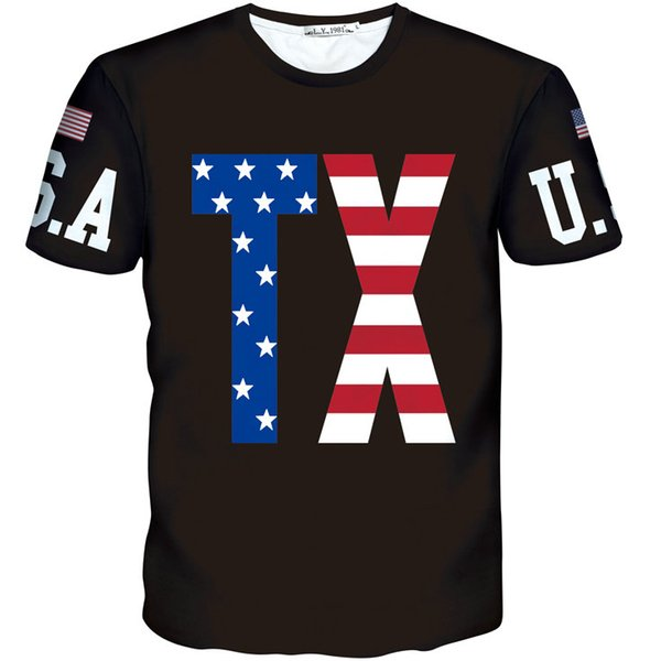 TX word flag T shirt Thanks abbreviation letter short sleeve gown Cool leisure tees Nice printing clothing Unisex cotton Tshirt