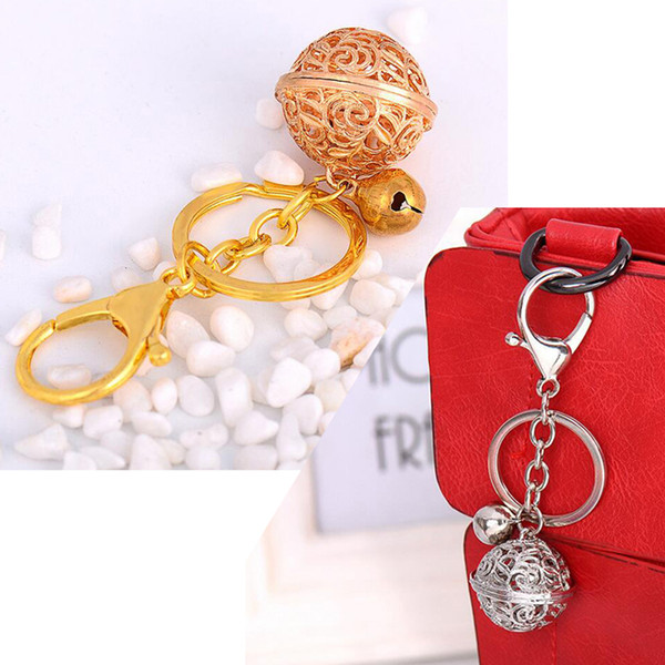 Womens Ladies Bell Ball Metal Car Keyring Keychain, Bag Alloy Charm Pendant. Key Holder