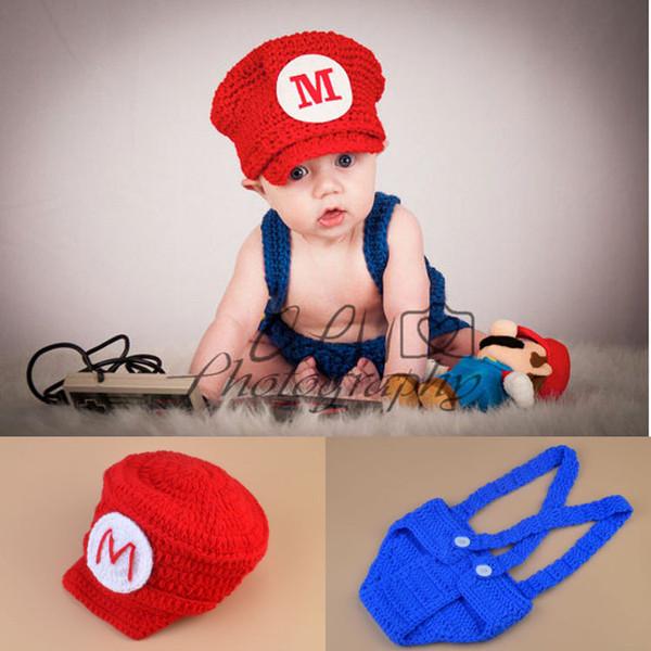 Super Mario Inspirado Hat CrochetDiaper Cover Set Crochet Bebê Roupas Bebê Recém-nascido Crochet Foto Adereços 1 conjunto