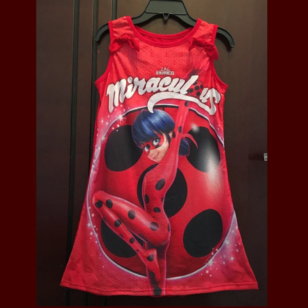 Hot Miraculous Ladybug Girls Dresses Kids Baby Girls Party Princess Costume Cosplay Powerful Girl Infantil Dress Clothing