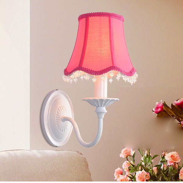wall sconce abajur + fabric lampshades led wall Lamp Crystal Lamp Ktv Bar Lamp Bedroom kids light