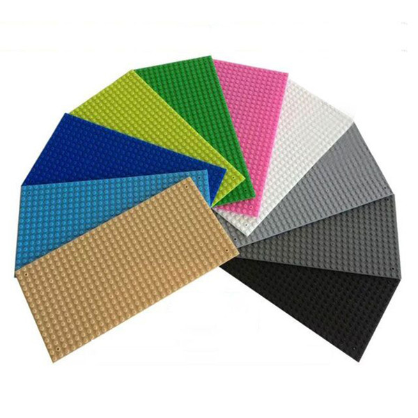 Colores sólidos Pequeños Bloques de Construcción DIY Placa de Base para Niños Educativos Bloques de Construcción de Juguete 16x32 Puntos Base Placa Ensamblados Juguetes Accesorios