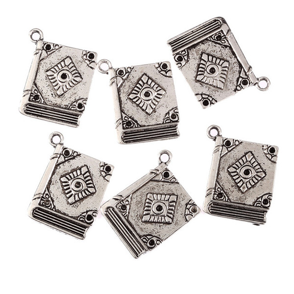 Wholesale-5Pcs Book Spell Witchcraft Antique Tibetan Silver Bead Charms DIY Fashion Pendants Fit Bracelet Jewelry Findings 23*18mm