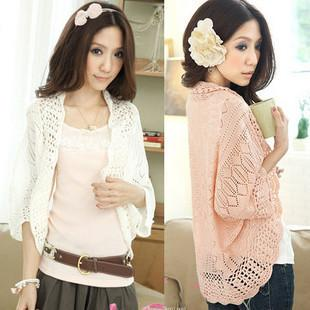 Wholesale-2015 summer cutout chiffon lace crochet batwing sleeve waistcoat cardigan loose sweater female thin cardigan for women F4238