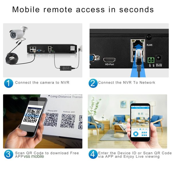 HD 1080P POE 4PCS 2.0MP IP Network Security Camera CCTV System 4CH HDMI NVR Email Alert P2P Surveillance Kits with 1tb HDD