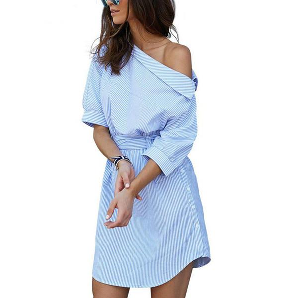 Vestido de camisa de mujer de rayas azules de un hombro de moda caliente División lateral sexy Cintura elegante de media manga Vestidos de playa casuales Vestido de oficina