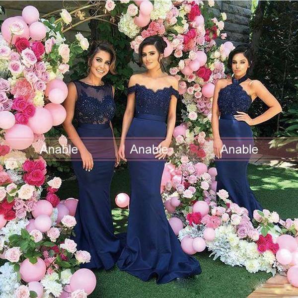 2017 Navy Blue Mermaid Bridesmaid Dress Lace Applique Bateau