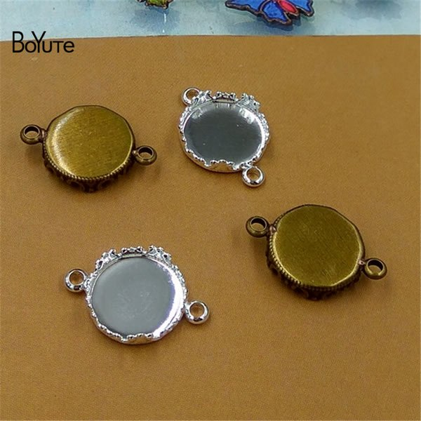 BoYuTe 50Pcs Round 12MM Hot sale Cameo Cabochon Base Setting Diy Connector Charms Bracelet Blank Tray Findings