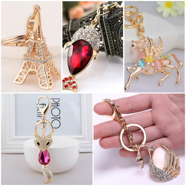 Nette 3D Bling Kristallcharme Keychain Schlüsselring-Pferdefisch-Eiffelturm-Bärn-Fox-Rhinestone-hängende Schlüsselkette C150Q