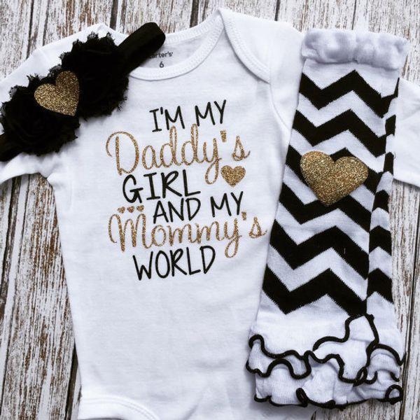 946166662 2017 INS Baby girl toddler Summer 2piece set Gold Letter romper onesies  Jumpsuits + Wave legging