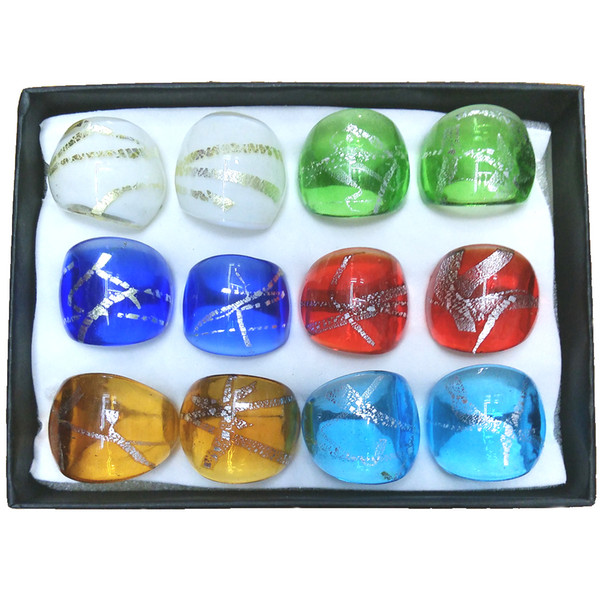 Fresh Colored Murano Glass Rings With Irregular Silver Lines Pattern For Women Mixed Size Pack of 12pcs