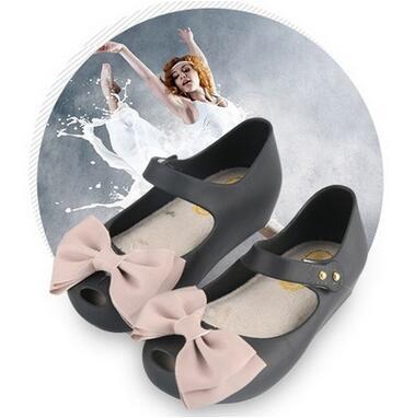Hot Sale Melissa Girls PVC Sandals Kids Jellies Princess Sandals Bow Shoes Waterproof Soft Comfortable Cheap Sandals Rain Boot Shoes Online