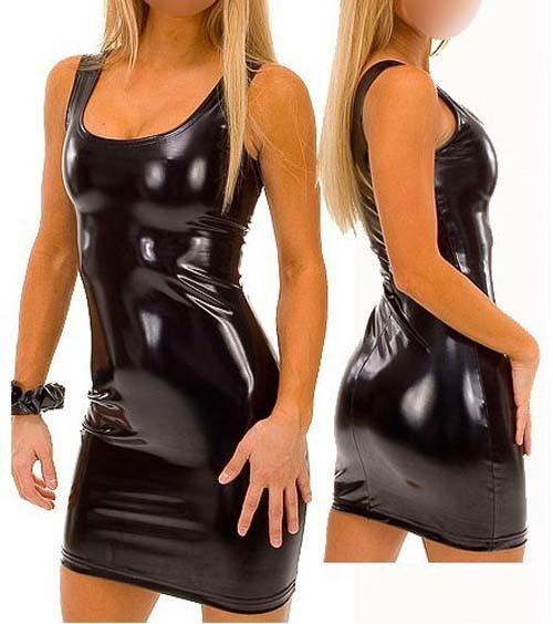 Free Shipping Women Black Sexy Leather Dresses Latex Club Wear Costumes Clothing PVC Dress Catsuits Cat Suits 4XL 5XL S4083