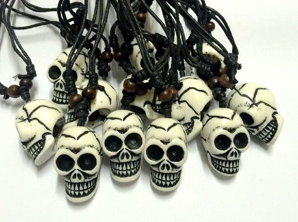 FREE SHIPPING Wholesale 12 pcs Tibetan Yak bone carving skull totem pendant talismans necklace Jewelry