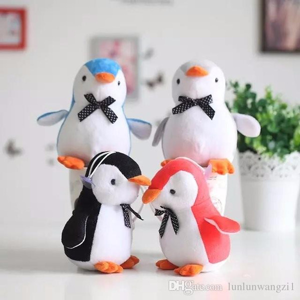 10cm Funny Cute kawaii bow penguin Plush Toy Soft stuffed animal For girls Children creative birthday gifts