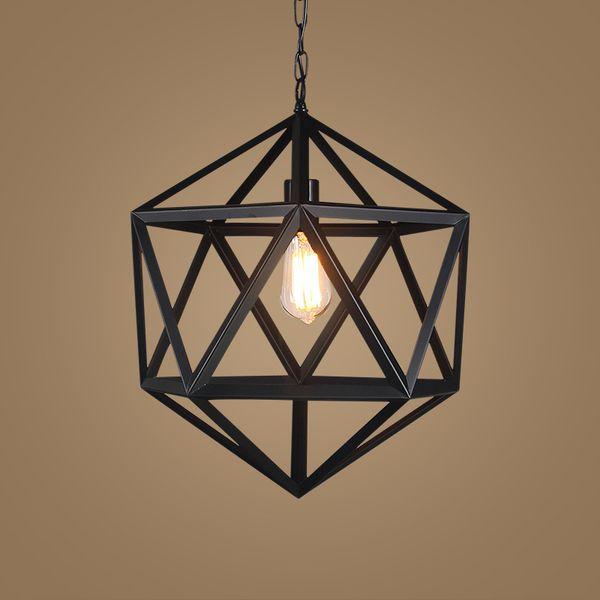American Vintage chandelier industrial chandelier creative restaurant and bar iron diamond ball LED black pendant lamp light
