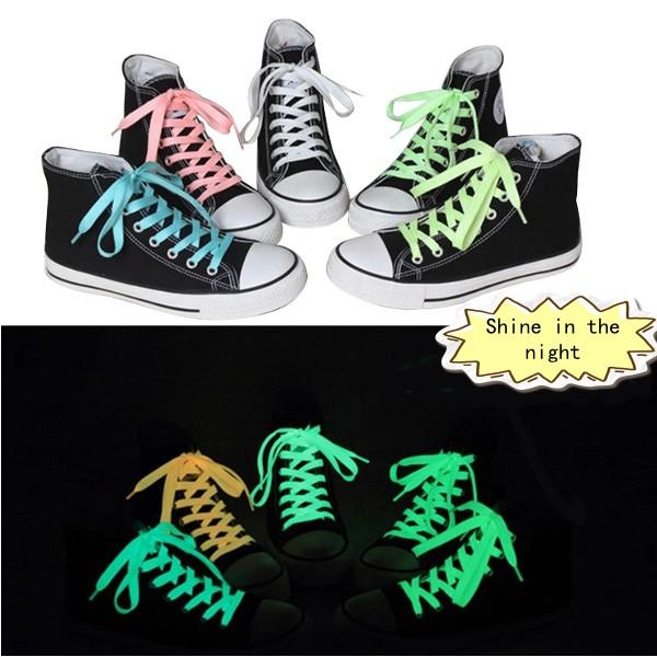 100Pcs Brand New Luminous Glow In The Dark Shoelace Flat Athletic Sport Boots Shoe Laces Strings 50Pairs Free Shipping