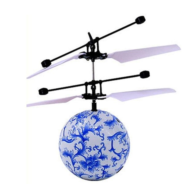Wholesale- RC Toy EpochAir Flying Ball Blue Drone RC Helicopter Ball Built-in Shinning LED Lighting Aircraft for Kids Teenagers