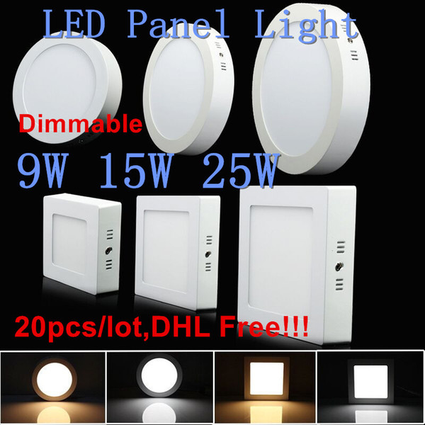 20pcs Dimmable 9W/15W/25W SMD 2835 LED Downlight Surface Mounted Ceiling Lamp 85-265V Energy Saving Light Warm/Natural/Cold white DHL Free