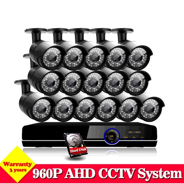 AHD 16CH 1080P Video Surveillance CCTV System HVR NVR AHD DVR Kit with 16pcs In/Outdoor 1.3MP 960P Security Cameras Home Kits