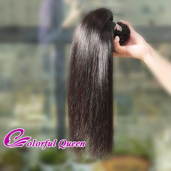 Renkli Kraliçe Saç Ürünleri Sınıf 7A Perulu Bakire Saç Düz 3 Paket Fiyatları 100% İnsan Saç Dokuma Paketler Online Satış 8-30 Inç