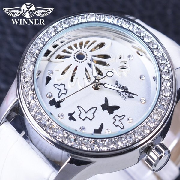 Winner Fashion Luxury Ladies Watches Diamond Dress Watch For Women Girls Lady Gifts White Leather Mechanical Skeleton Design Casual Clock