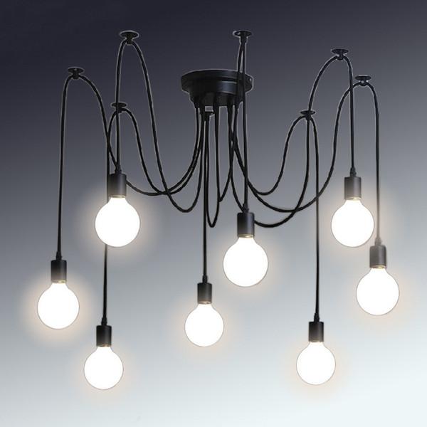 Retro araña clásica E27 araña lámpara colgante bombilla titular del grupo Edison diy lámparas de iluminación linternas accesorios de alambre mensajero