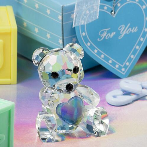 Free Shipping 100pcs Baby Shower Favors Choice Crystal Collection Teddy Bear Figurines -Blue Crystal Bear For Wedding favor