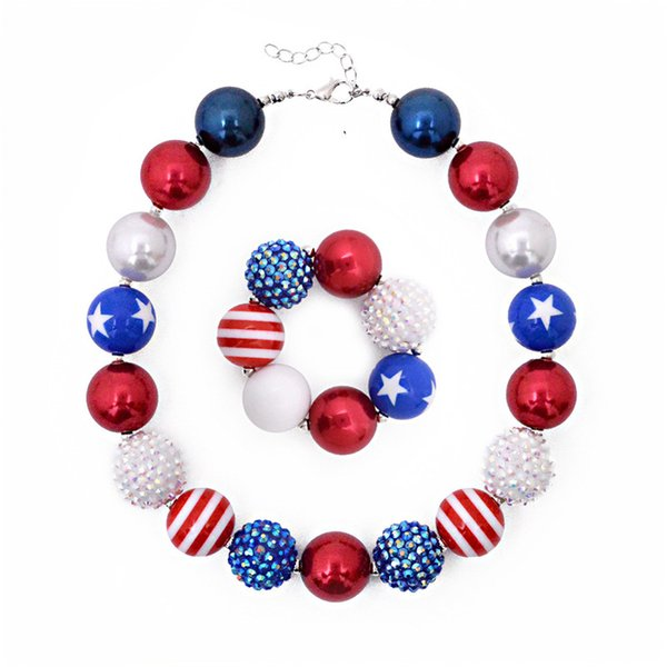 Girls Independence Day bead necklace 2pc set beaded necklace+bracelet stars and striped glitter patterns kids arylic jewelry sets