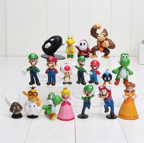 18pcs/set New High Quality PVC Super Mario keychain Bros Luigi Action Figures youshi mario Gift retail