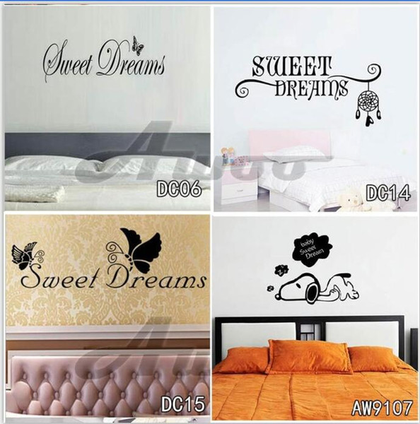 Sweet Dream Vinyl Art Sticker Home Decor Butterflies Wall Stickers Dog Headboard Romantic Living Room Decoration