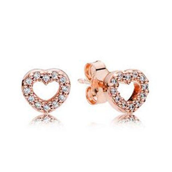 2017 Printemps Nouvelle Rose Plaqué Or Capturé Coeurs Boucles D'oreilles Avec Cubic Zirconia Adapte Européen Pandora Charme Bijoux