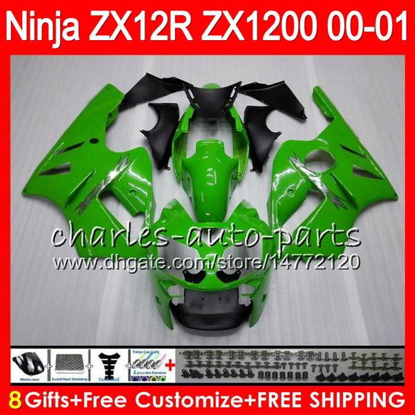KAWASAKI NINJA Için 8 Hediyeler 23 Renkler ZX1200C ZX12R 00 01 02 50NO23 Parlak yeşil ZX 12 R ZX1200 C ZX 1200 ZX-12R ZX 12R 2000 2001 2002 Fairing