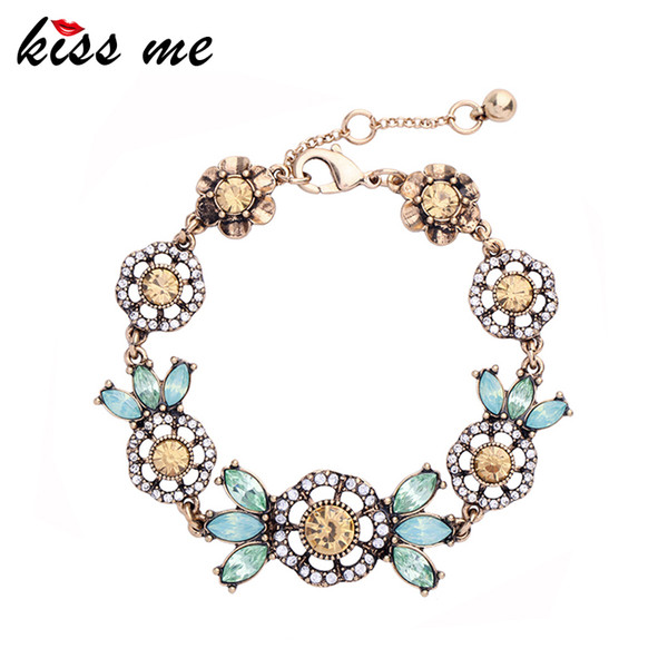 KISS ME Elegant & Fashion Female Green & Champagne Crystal Flowers Charm Bracelets for Women Brand Jewerly