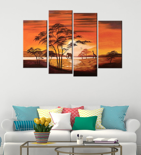 YIJIAHE Landscape Print Canvas Painting Art The setting Sun 4 Piece Canvas Art Wall Pictures For Living Room Large Wall Art DW8