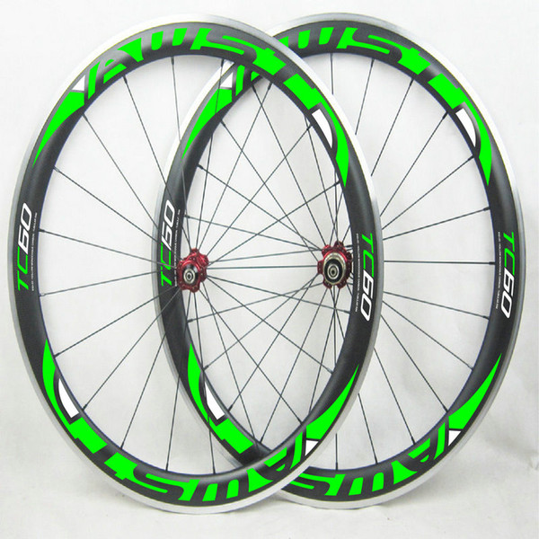 Hot sale aluminum surface 60mm bicycle carbon wheels 3k basalt surface 700C road bike wheels green decal china cycling wheels free shipping