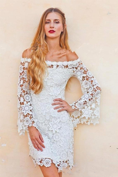 2017 New Vintage Lace Off shoulder Bell Sleeves Wedding Dress Crochet Boho Hippie Inspired 70s Style Short Reception Wedding Dresses