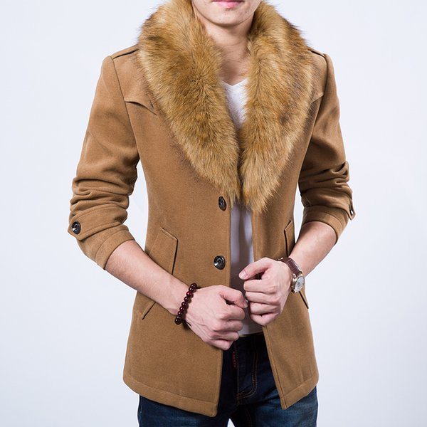 top popular Wholesale- 2015 free shipping plus thick velvet coat khaki dark blue burgundy black four-color fur collar coat fashion classic 2021