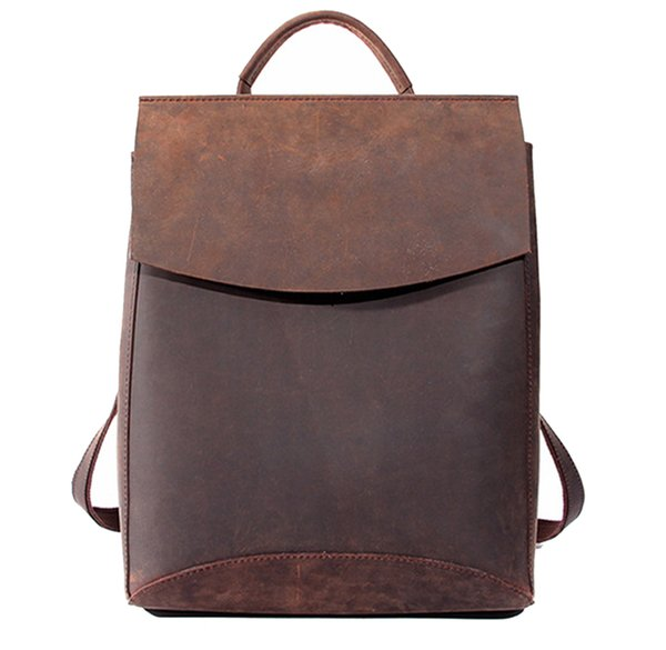 Wholesale- 100% Genuine Leather Women Backpacks  Top Quality Handcraft Bag,School Gril Daily Strap Laptop Backpack