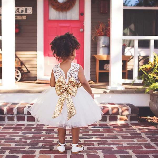 Flor rosa Do Bebê Da Menina Flor Vestidos Princesa Na Altura Do Joelho vestido de Baile Arco Grande Para O Laço de Casamento Vestidos de Festa de Aniversário Vestidos