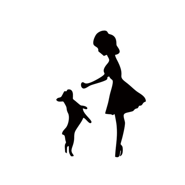 Personality Woman Playing With Pet Dog Car Window Bumper Vinyl Decal Funny Car Sticker New Design Jdm