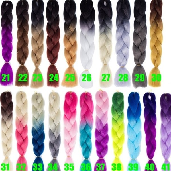 24Inch 100g Grey Jumbo Kanekalon Ombre Synthetic Braiding Hair Bundles High Temperature Braids Hair Extensions 41 Colors